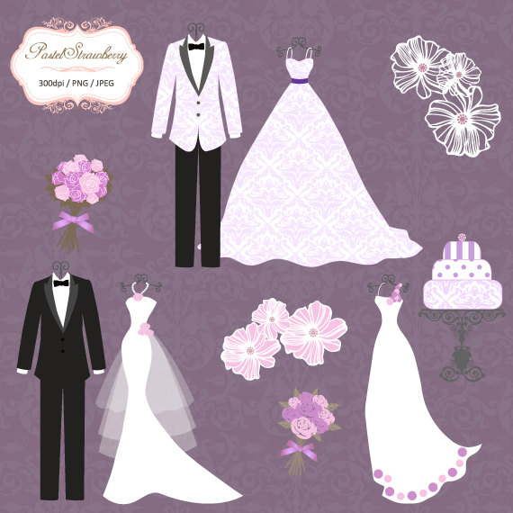 Tuxedo clipart bride dress. Luxury wedding purple
