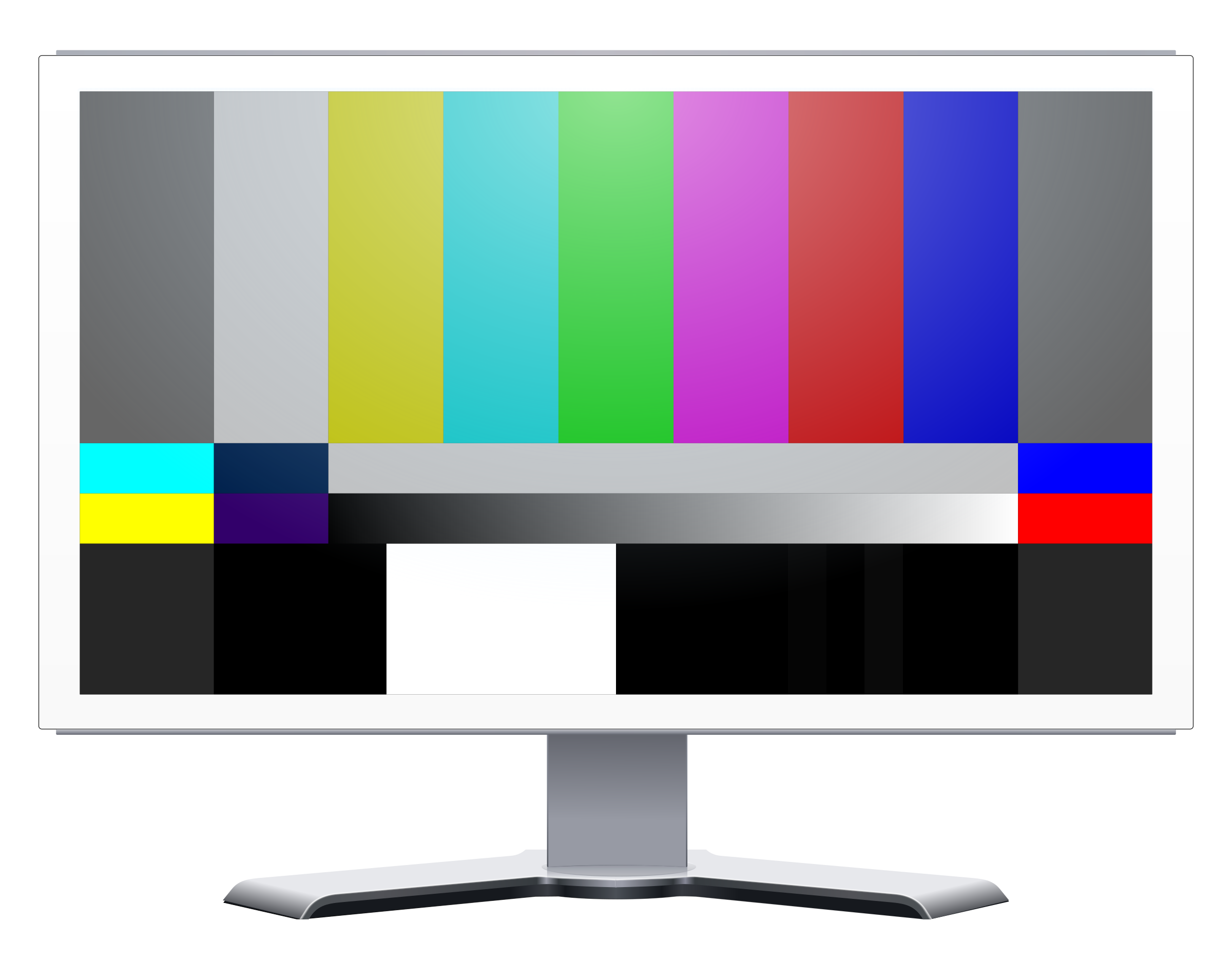 Color bars png. White lcd monitor with