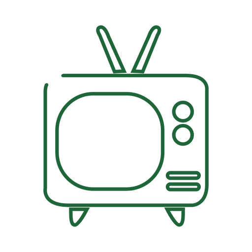 Tv doodle png. Green line icon svg