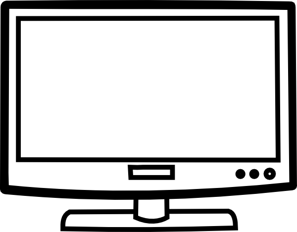 Vector television drawing. Outline clip art at
