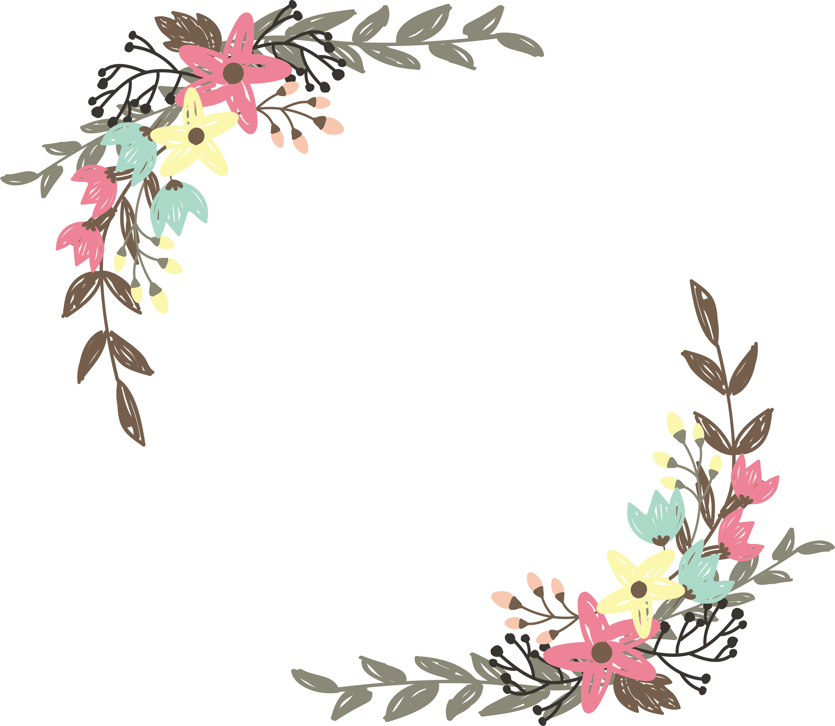 Twig vector border. Flowers wildflower clip art