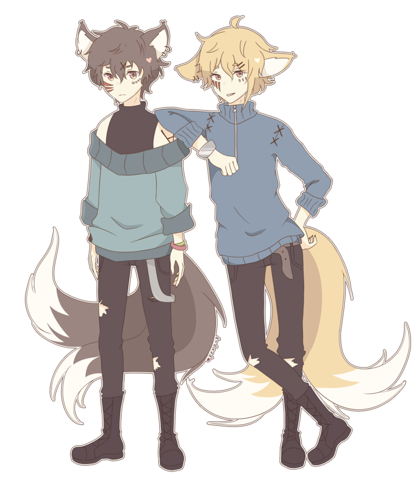 Twin drawing artwork. Kitsune twins by peapup