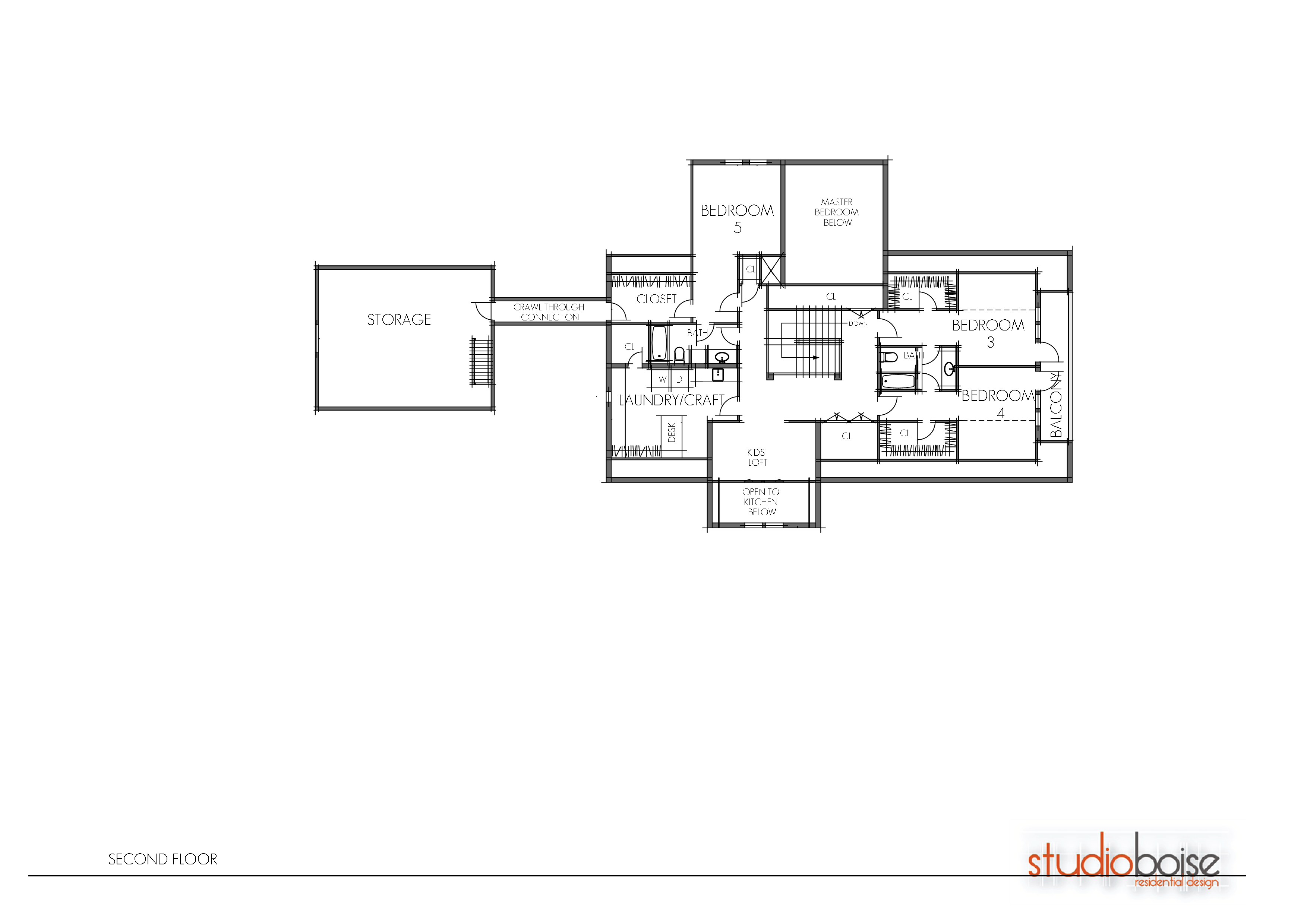 Drawing bedroom twin. Boise residential architectural design