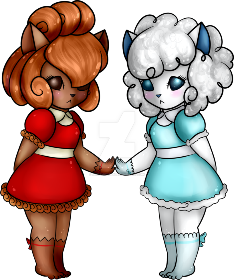 Twin drawing ice. Anthro vulipix alolan vulpix