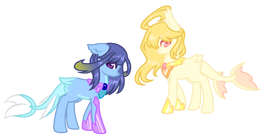 Twin drawing sunset. Mlp adopt pony sisters