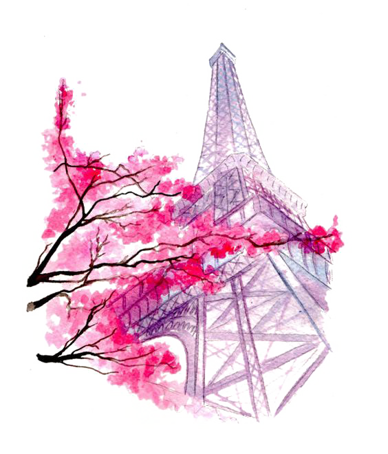 Twin drawing watercolor. Eiffel tower painting illustration