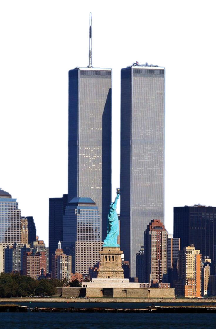 Twin towers and statue of liberty png. One world trade center