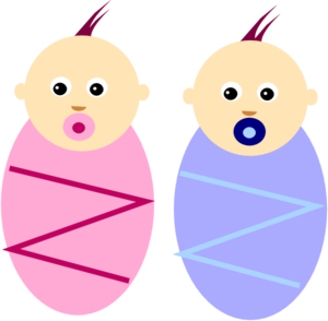 Twins clipart. Boy and girl