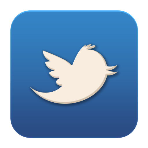 Twitter png icon. Old flat social media