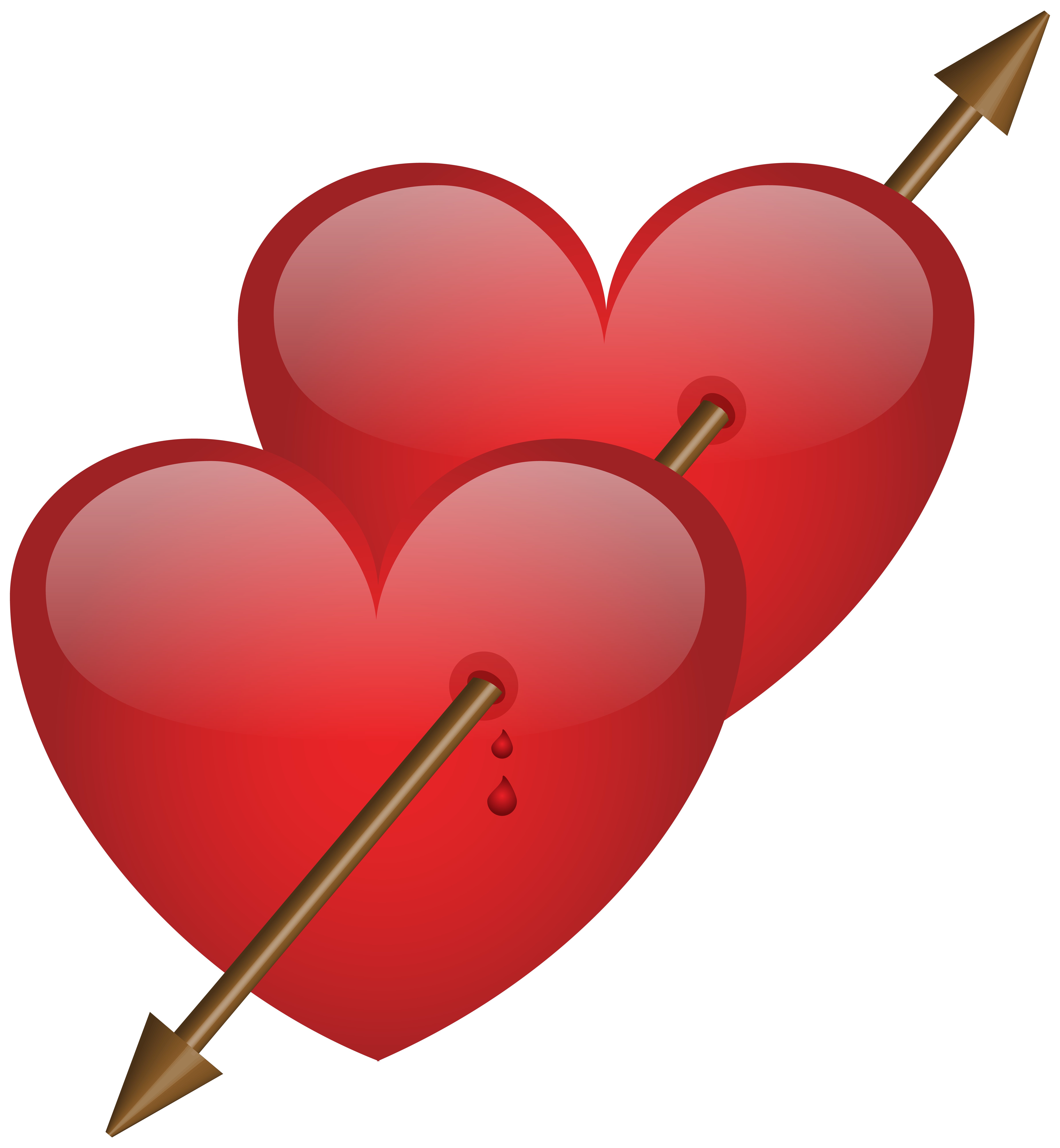 Two hearts png. With arrow clip art