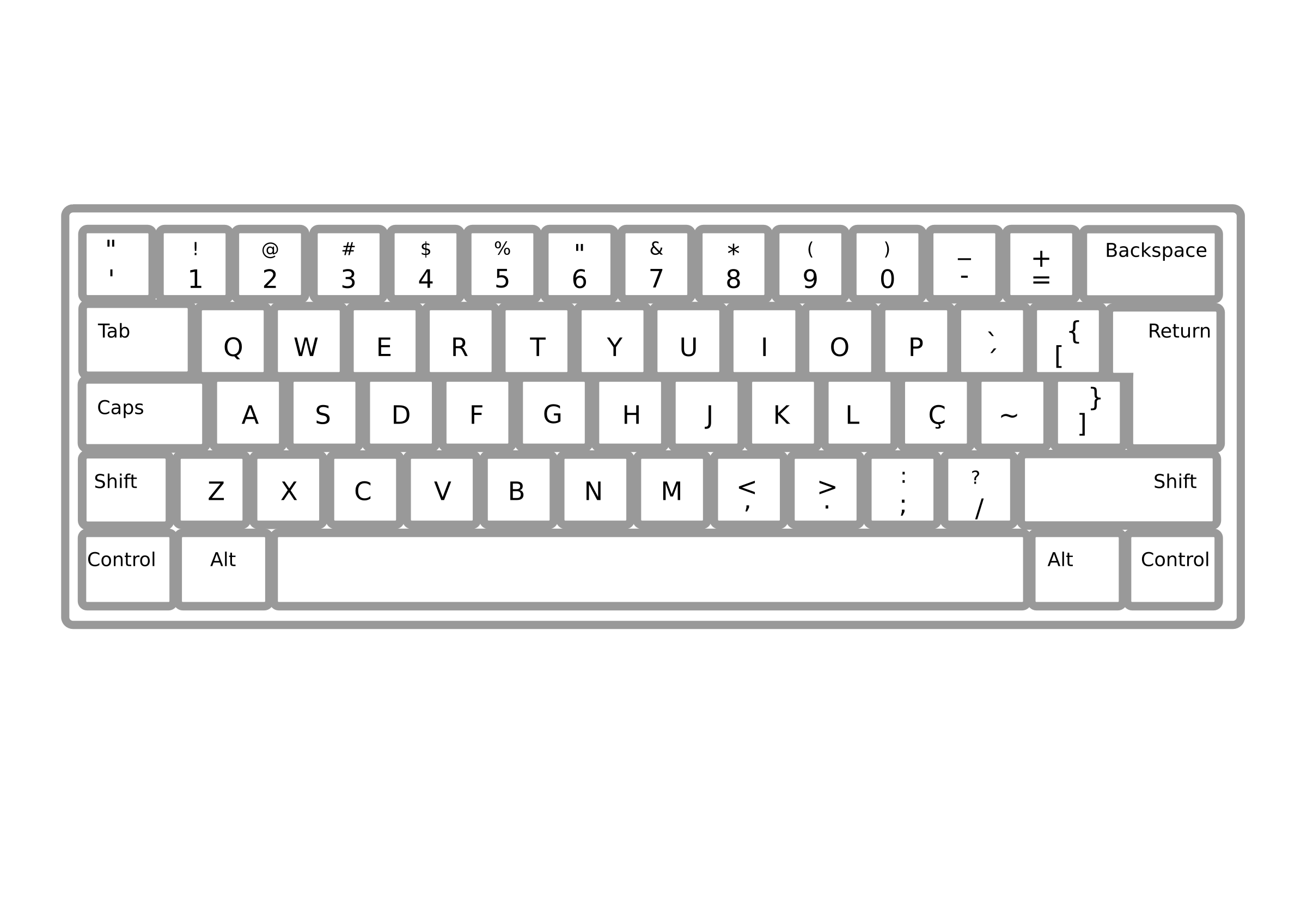 Drawing keyboard black and white. Collection of clipart