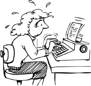 Typing clipart book author. Picture a nervous woman