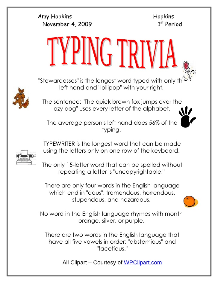 Typing clipart practice. Trivia keyboarding amy hopkins