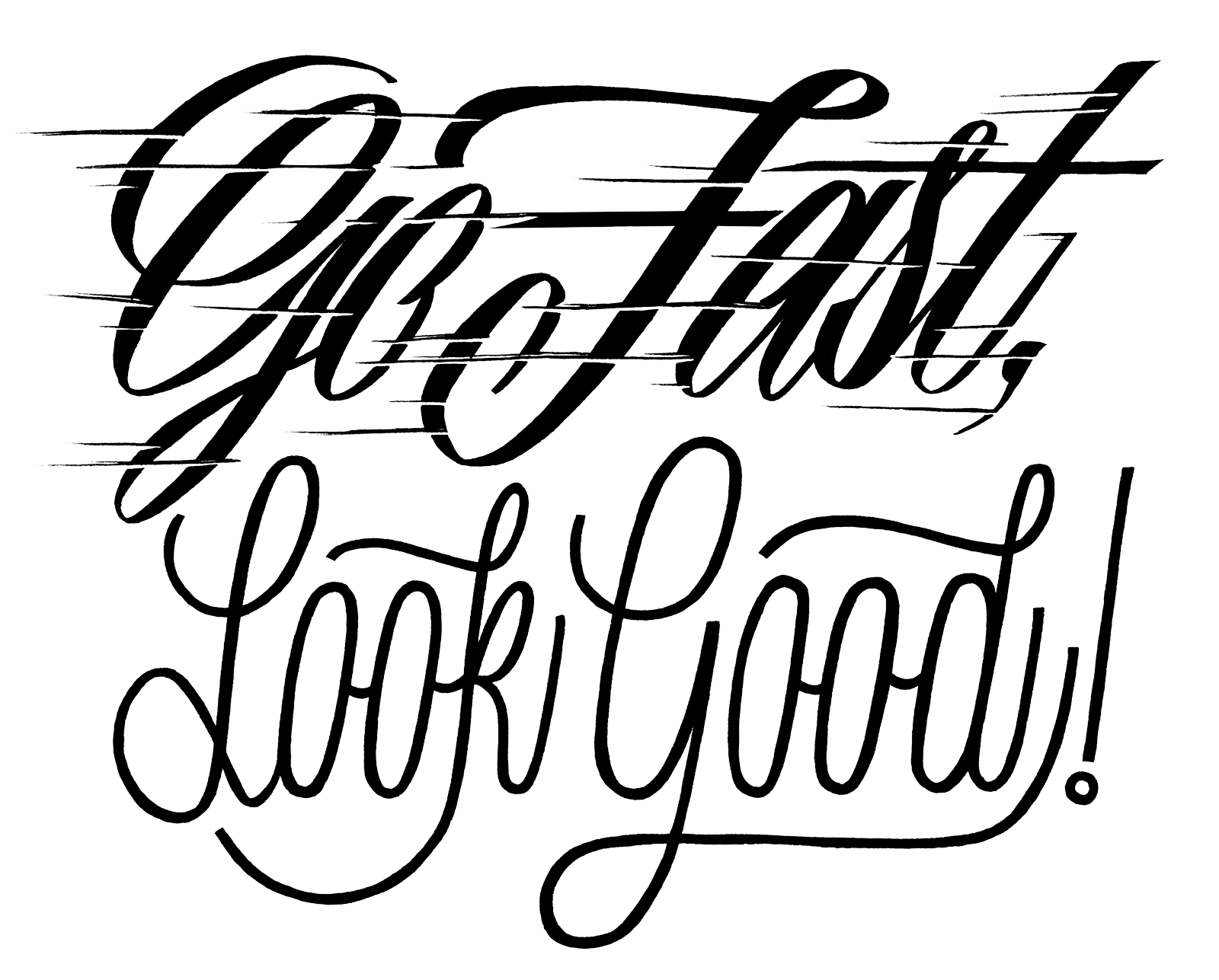 Typographic drawing art. Fast n loud typography