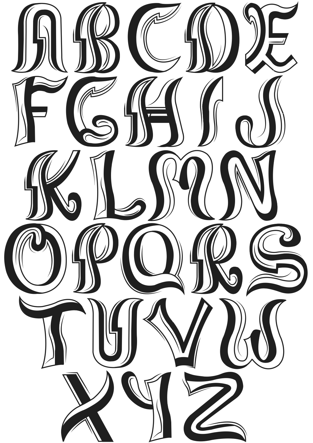 Typographic drawing black and white. Typography iqra i duplicated