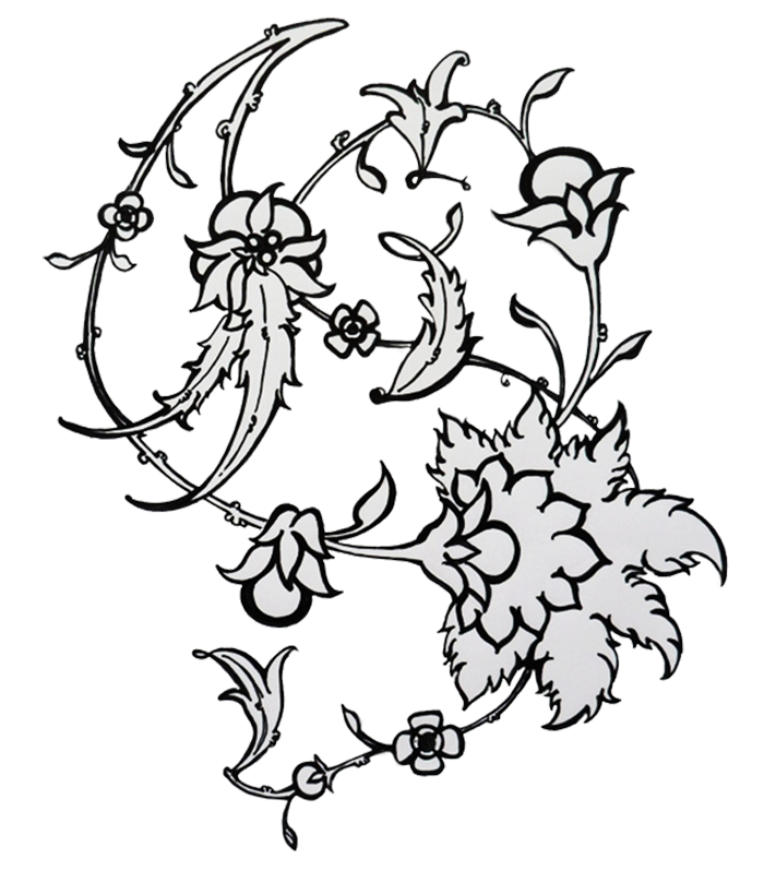 Typographic drawing flower. Decorative lettering zainab on