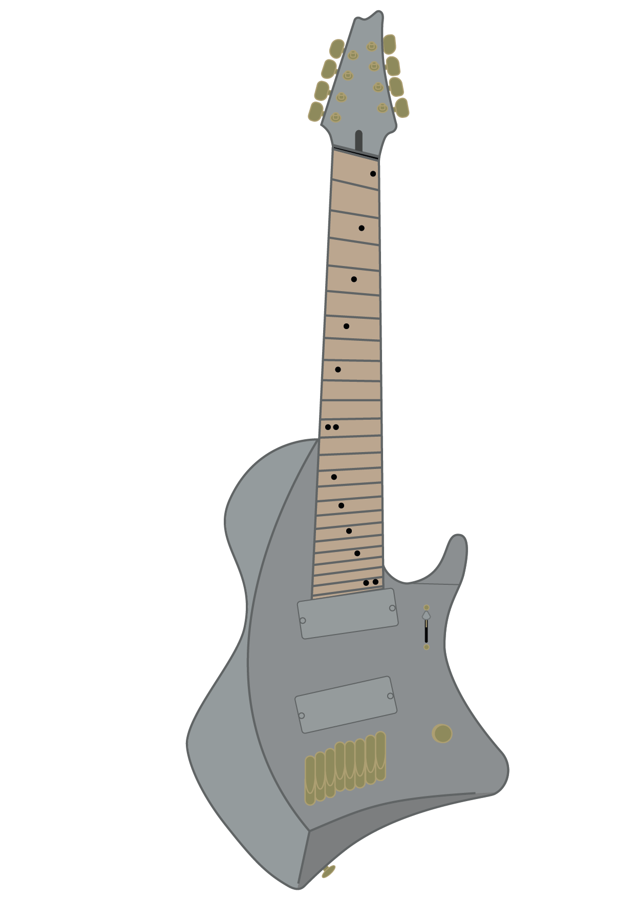 Typographic drawing guitar. Graphic draw of tosin