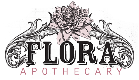 Typographic drawing handmade. Flora apothecary i heart