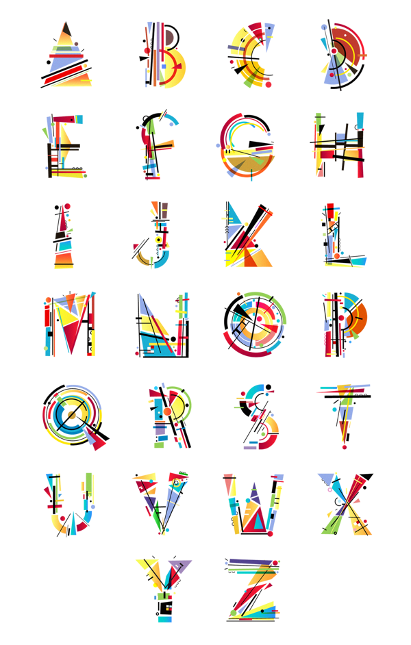 Typographic drawing letter. Kandinsky type by tano