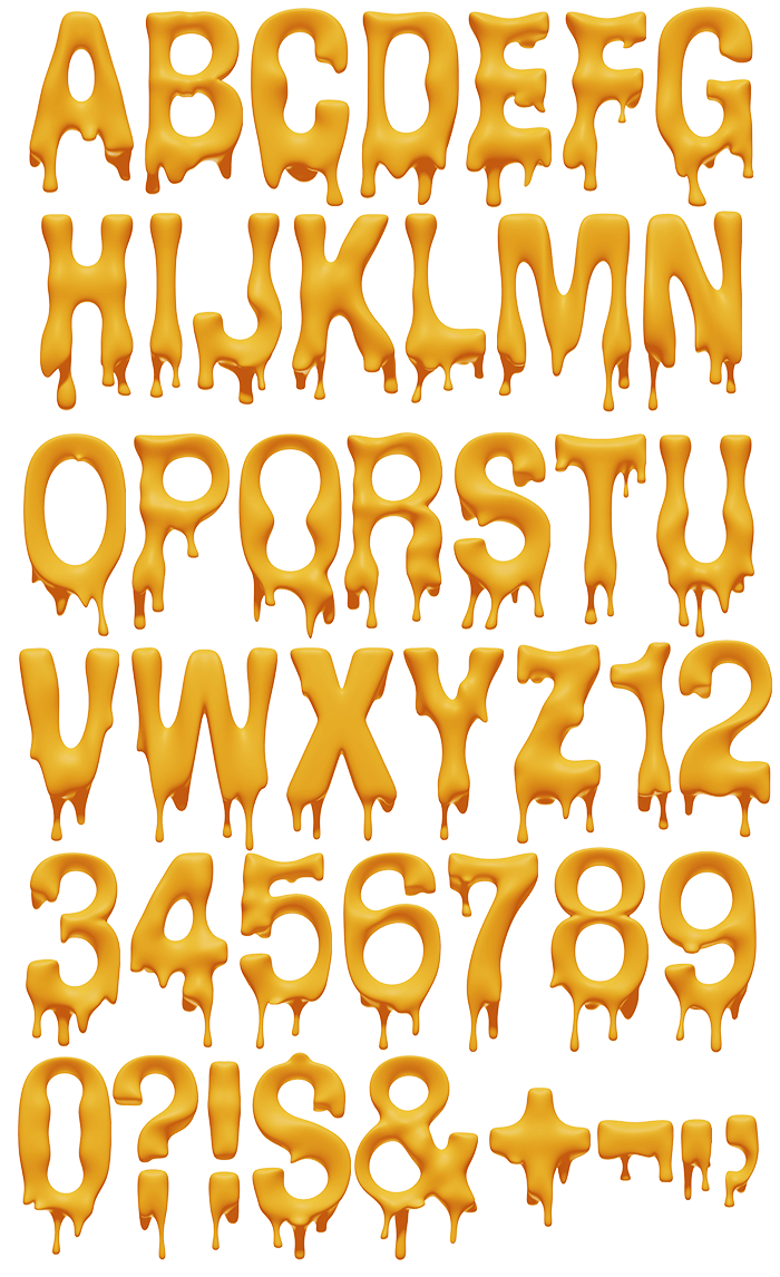 Typographic drawing sketch. Melting font fonts lettering