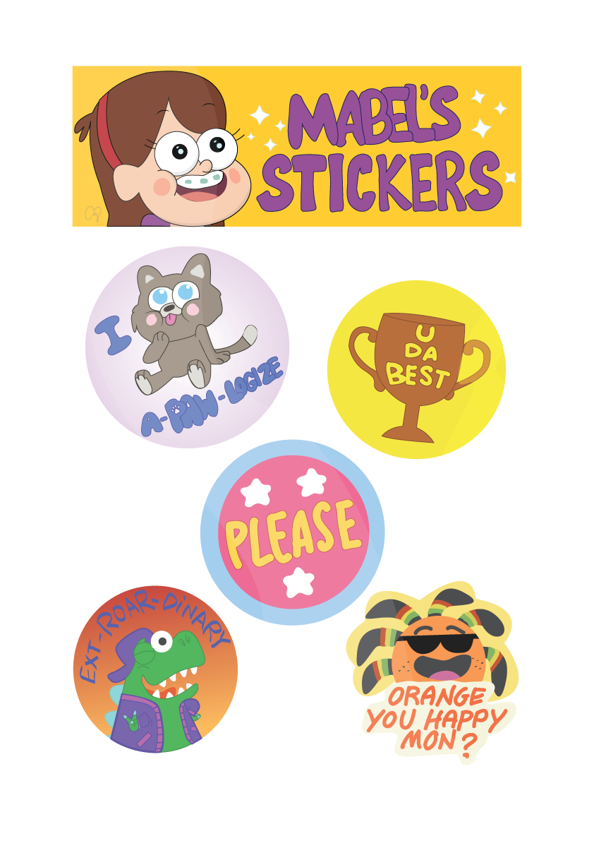 Typography vector. Mabel s stickers logos