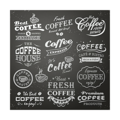 Collection of shop sketches. Typography vector coffee png library download