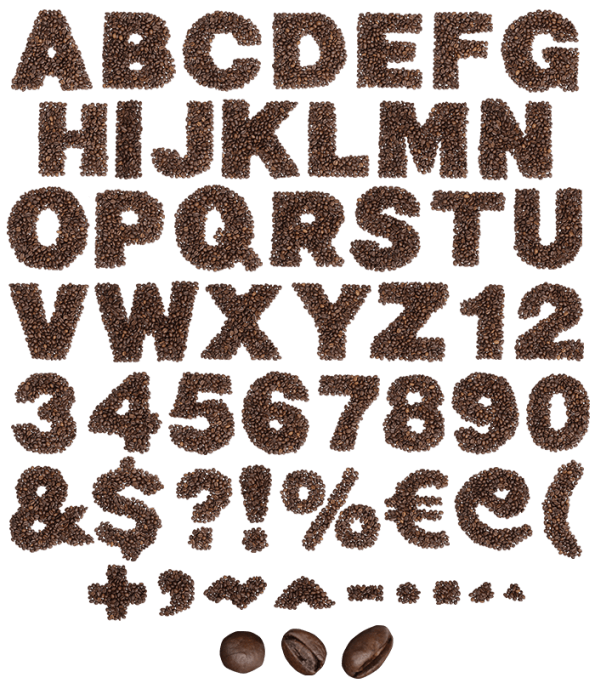 Typography vector coffee. Buy colombian font and