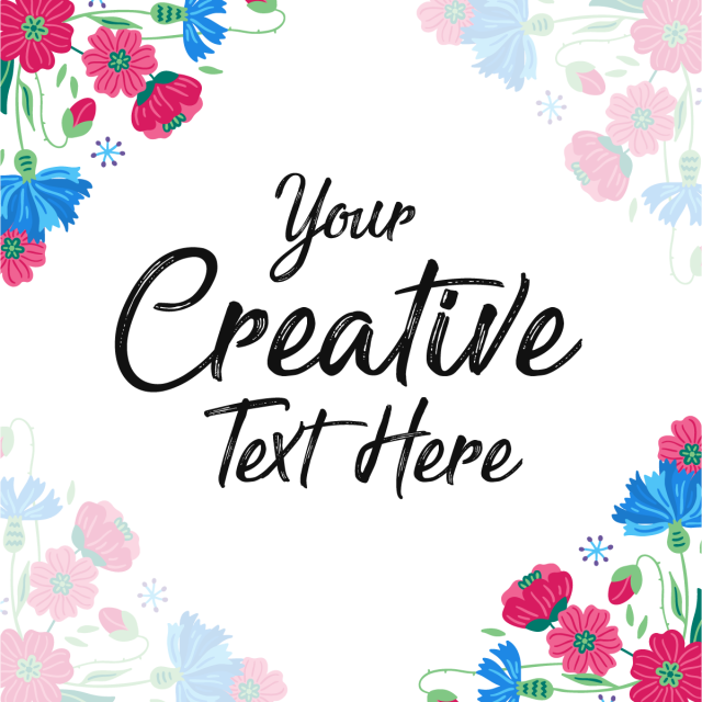 Colorful flowers frame with. Typography vector creative jpg freeuse stock