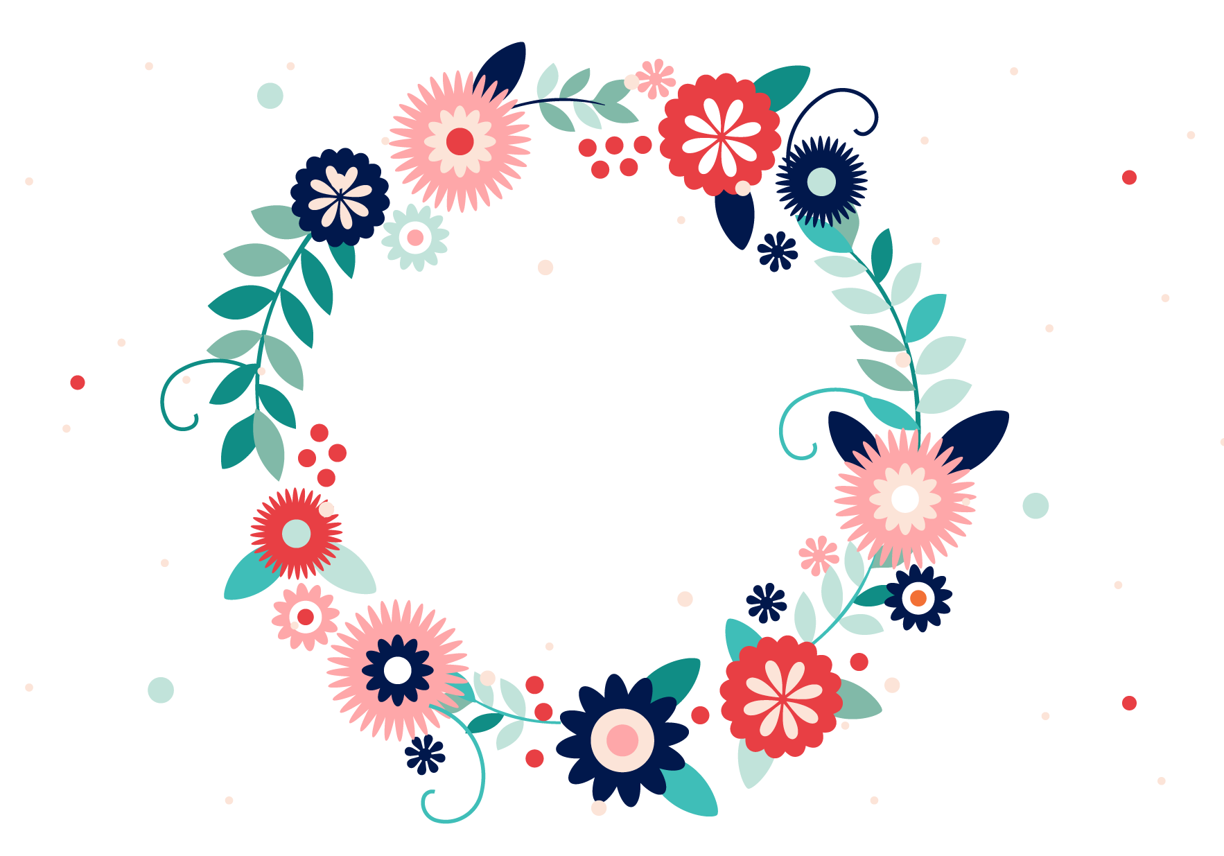 Typography vector flower. Wreath colorful frame transprent