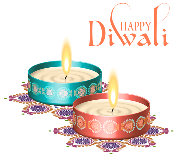 Typography vector happy diwali. Nice candles png clipart