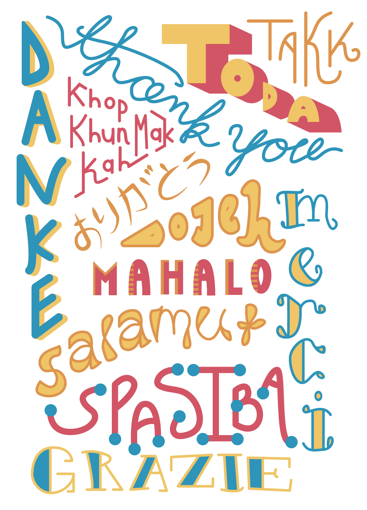 Typography vector thank you. Kait the ambi type