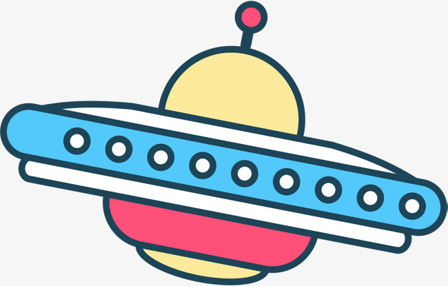 Ufo clipart colorful. Hand painted spaceship drawn