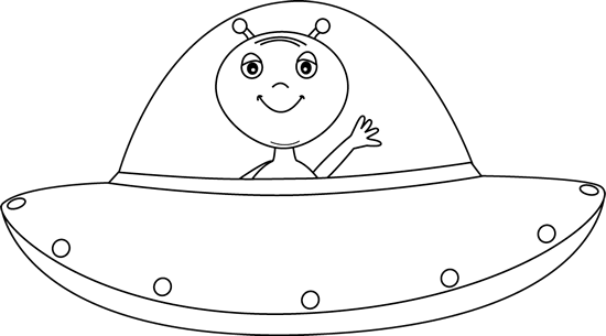 Drawing spaceships ufo. Black and white alien