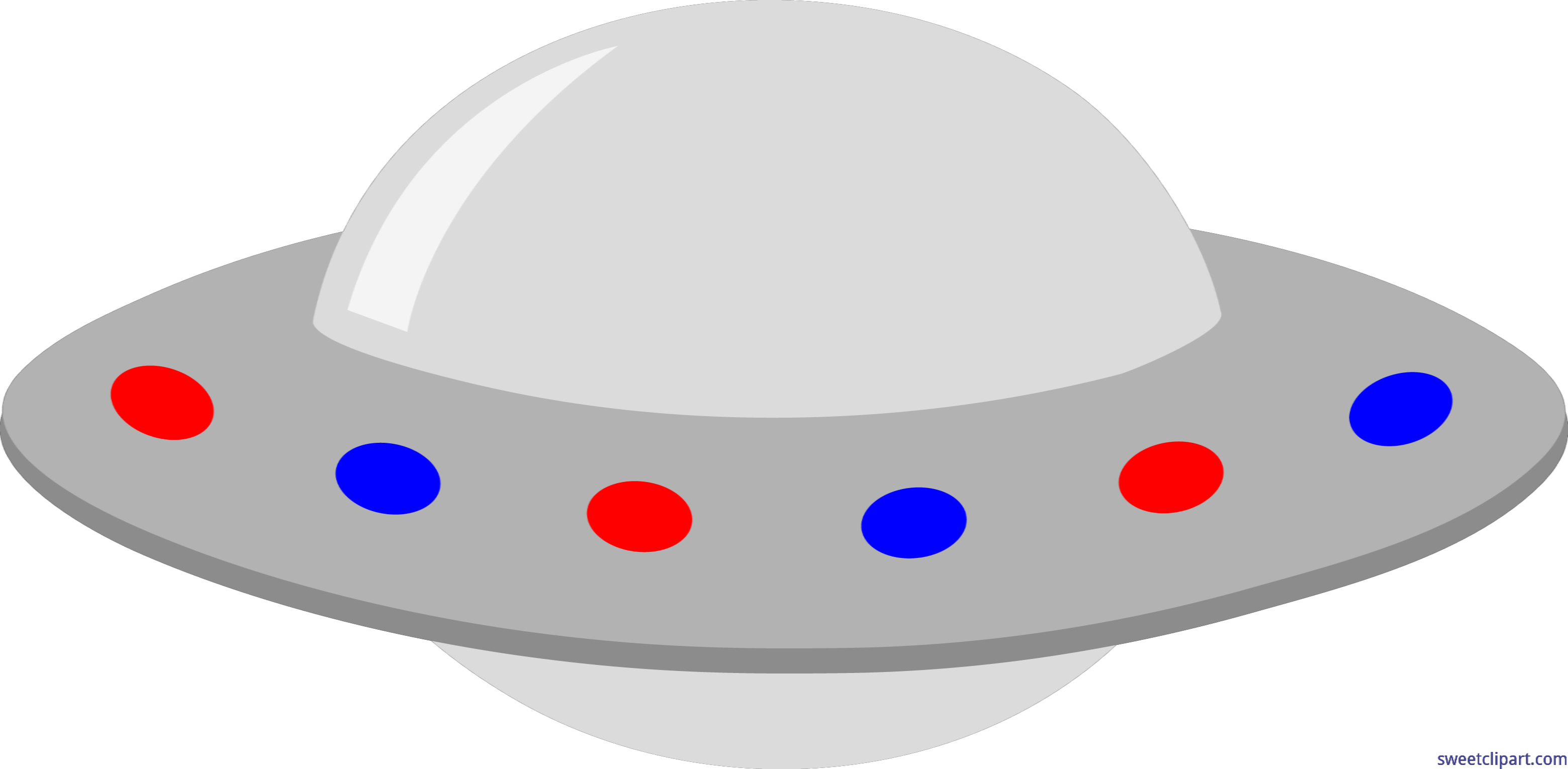 Vector ufo transparent. Gray red blue clip