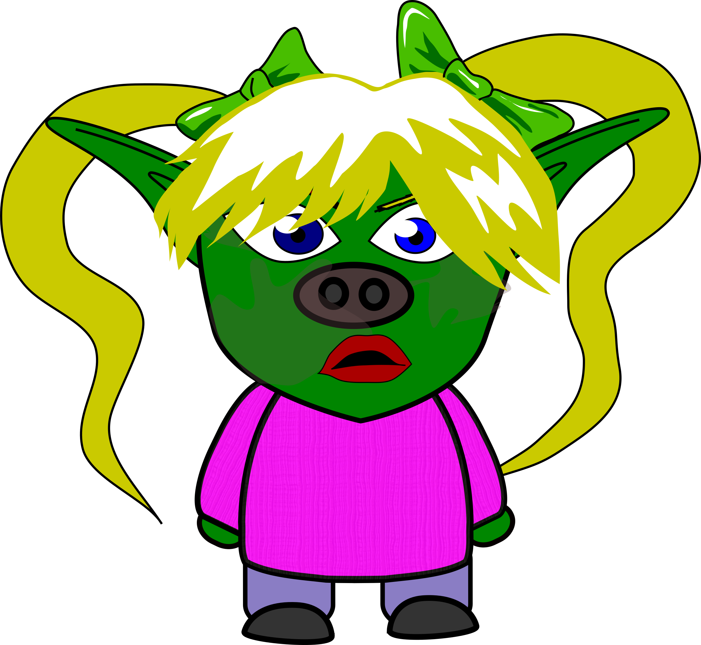Ugly girl png. Chibi goblin icons free