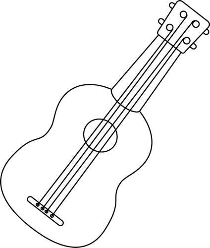drawing guitar black and white