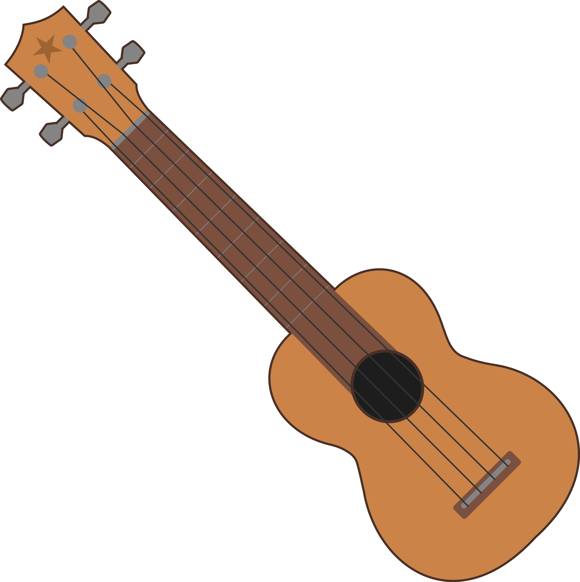 Ukulele vector cartoon. Collection of clipart