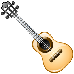 Ukulele vector oval. Brilliant musical instruments icons