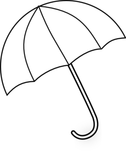 Drawing umbrella cartoon. Black and white clipart