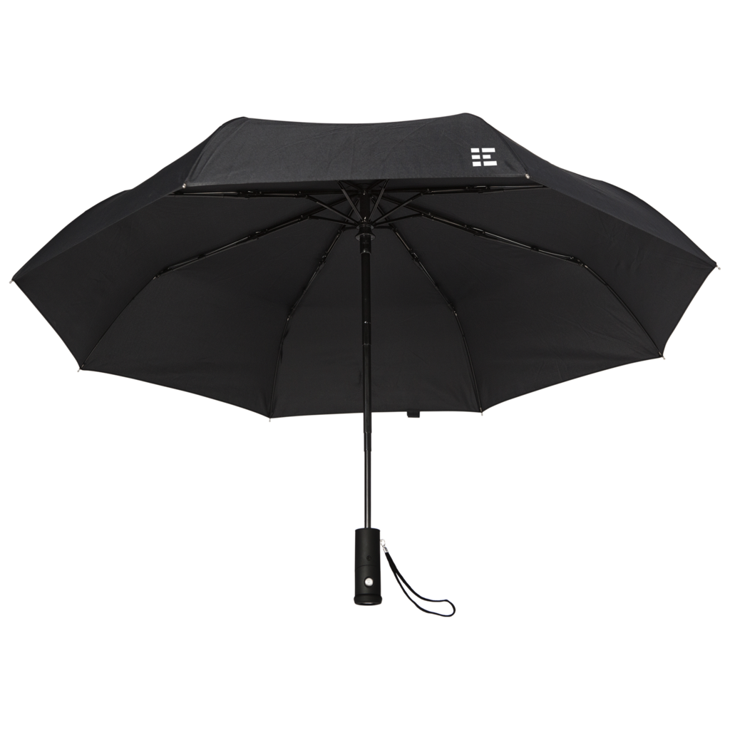 Umbrella clip shoulder. Compact travel with flashlight