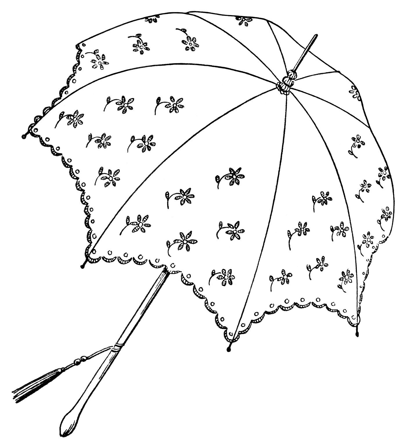 Umbrella clipart printable. Vintage parasol black and