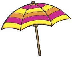 Umbrella clipart printable. Yellow and purple beach