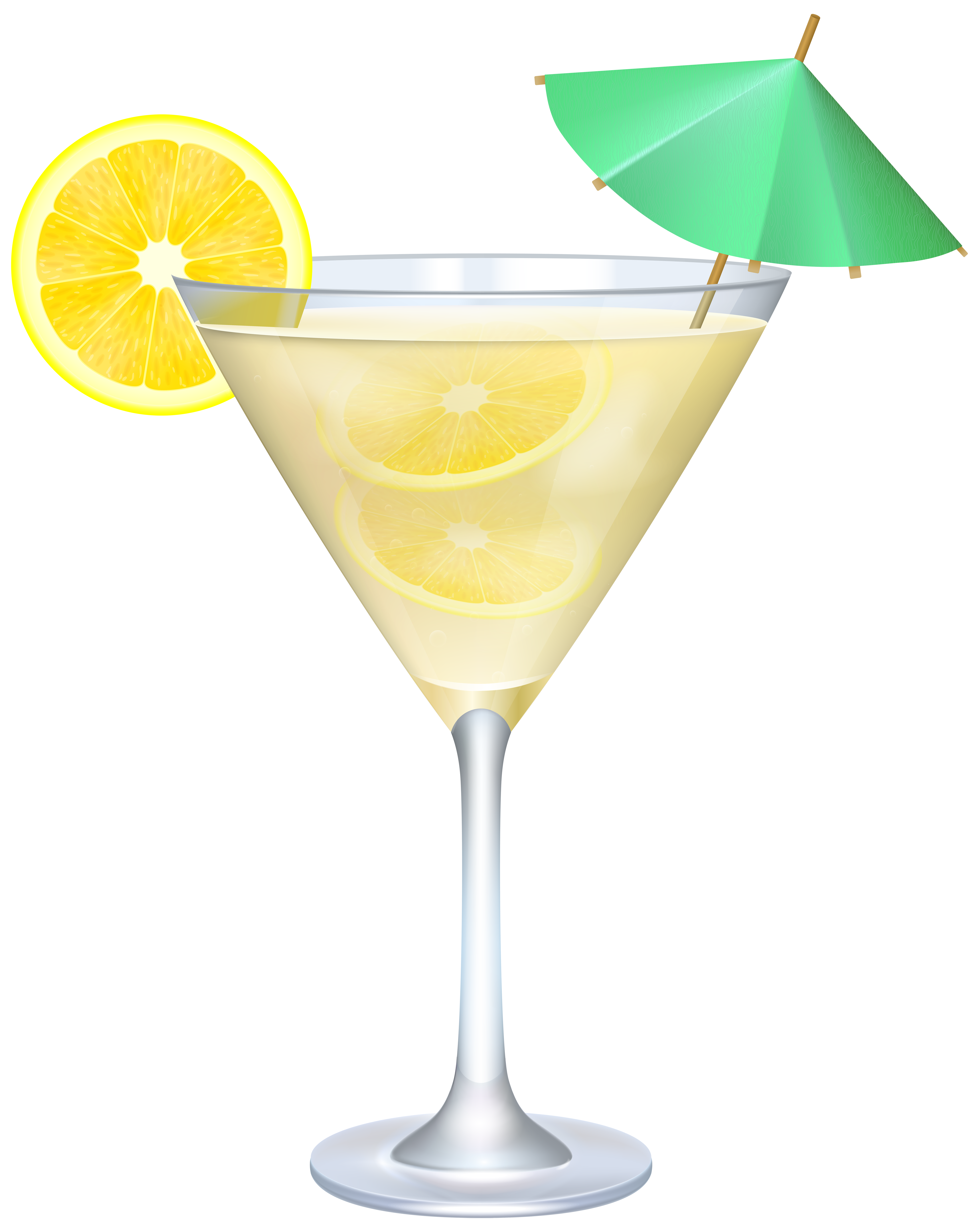Umbrella drink png. Cocktail with lemon and