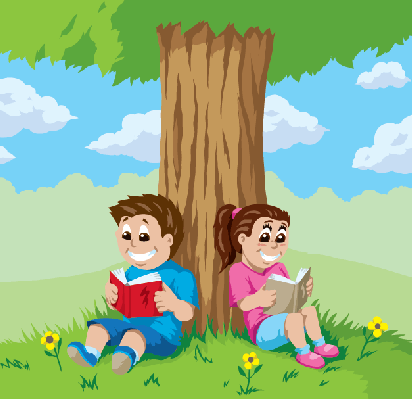 Under clipart tree. Kids reading a the