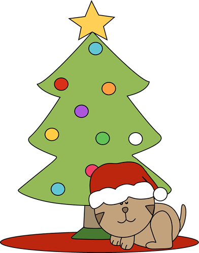 Cats clipart tree. Christmas cat sleeping under