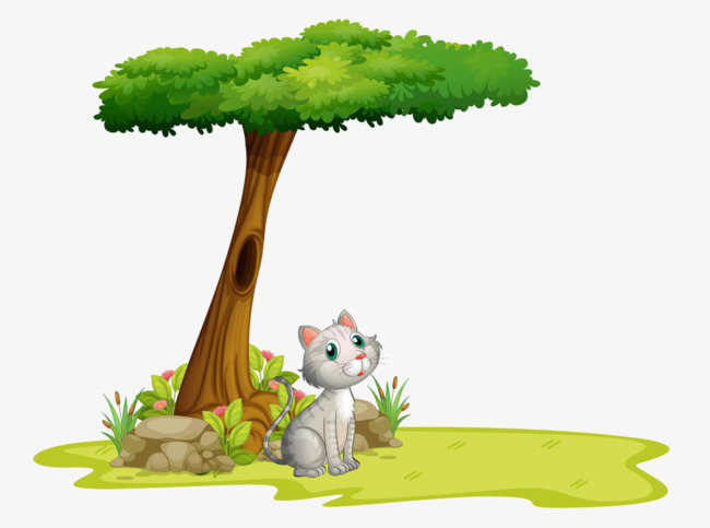 Cats clipart tree. Cartoon under the cat
