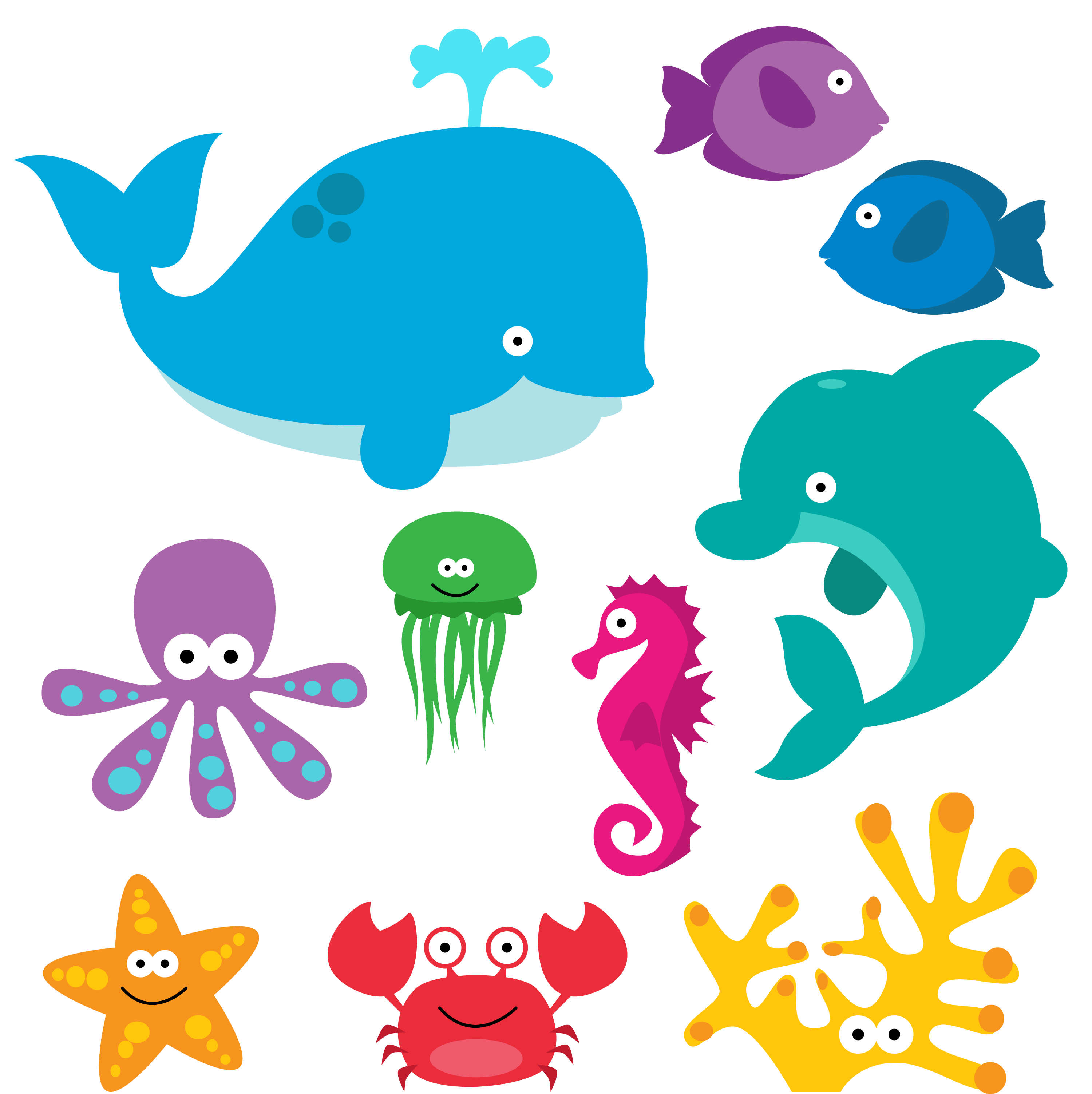Creatures clipart. Sea animal under the
