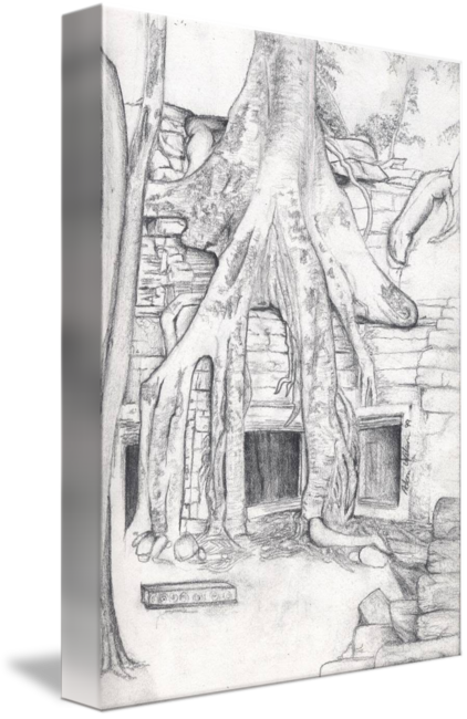 Underground drawing. Roots over an hut
