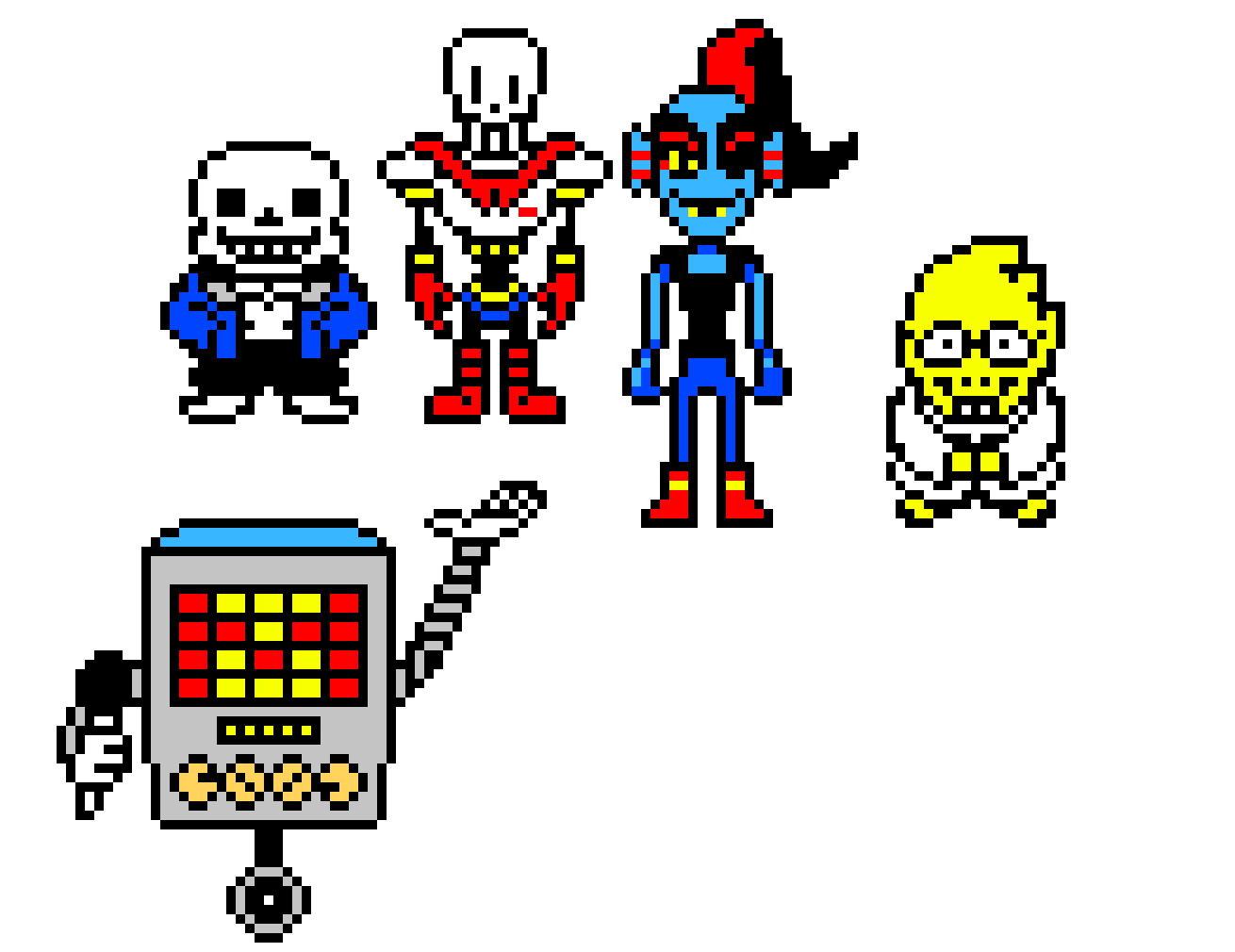Undertale character png. Every characters part pixel