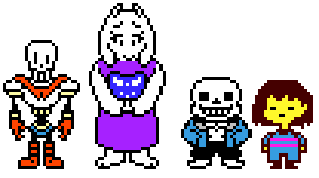 Character transparent undertale. Characters pixel art maker